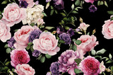 Seamless floral pattern with roses, watercolor - 168418347