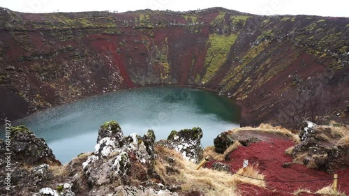 Volcano lake landscape view of Iceland. Majestic nature view of traveler and explorer