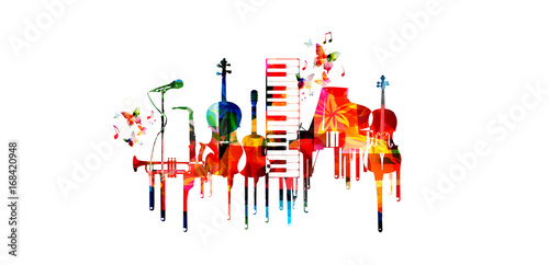Music poster with music instruments. Colorful piano keyboard, saxophone, trumpet, violoncello, contrabass, guitar and microphone with music notes isolated vector illustration design © abstract