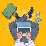 Fototapety Pop Art Top View Man Sitting with Laptop on the Floor with Cup of Coffee and Smartphone. Vector illustration