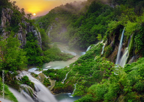 sunrise over the waterfall in Plitvice ,Croatia - 168429765