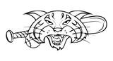 Tiger Face with Baseball Bat Vector Drawing