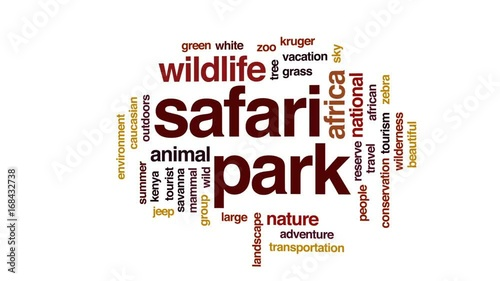 Safari park animated word cloud, text design animation.