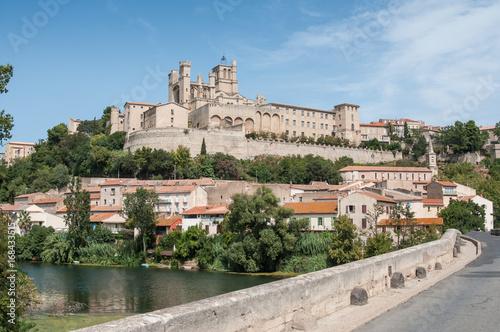 Poster vue de Béziers avec le pont vieux et la cathédrale St Nazaire