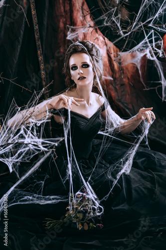 Dark woman in black Poster