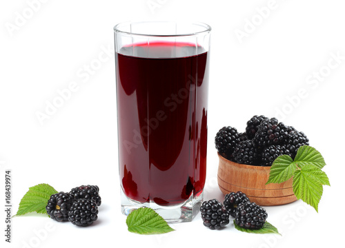 blackberries juice isolated on white background