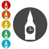 Big Ben icons set - Illustration
