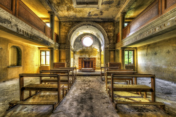 Interior of abandoned chapel