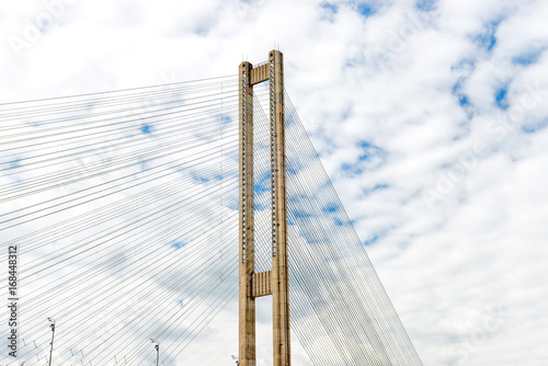 Cable bridge over river