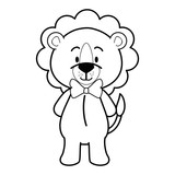 cartoon lion icon over white background vector illustration