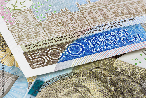 Poster Closeup of 500 pln banknotes