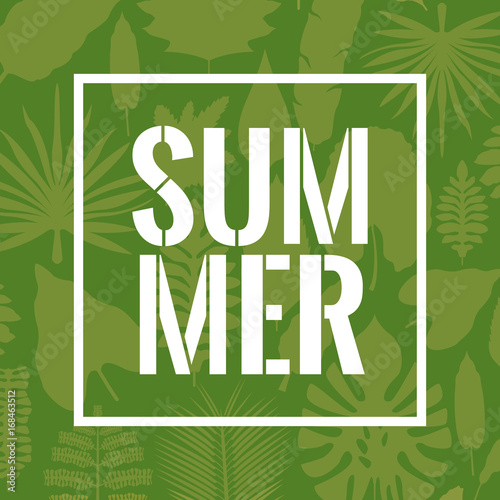 green color poster with decorative leaves and summer text in square frame vector illustration