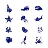 Icon Set of Elements of Marine Life