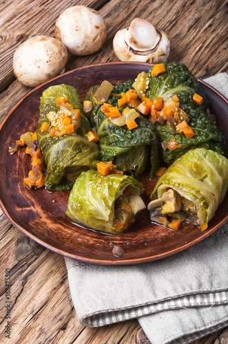Vegetarian cabbage rolls on plate - 168475591