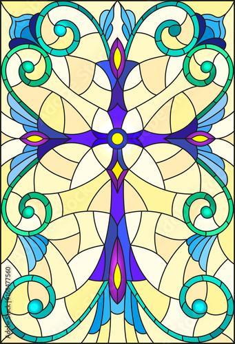 ilustracja-w-witrazu-stylu-z-purpurowym-krzyzem-na-zoltym-tle-z
