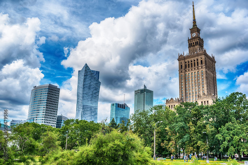 Warsaw, Poland: the Palace of Culture and Science, Polish Palac Kultury i Nauki, in the summer - 168479586