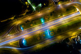 Moscow: a view from above on Andropov Avenue at night.