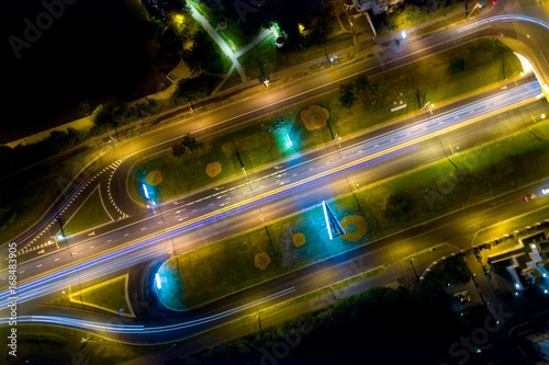 Fotobehang Moskou Moscow: a view from above on Andropov Avenue at night.