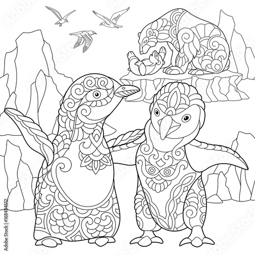 Coloring page of emperor penguins, polar bears and seagulls. Freehand sketch drawing for adult antistress coloring book in zentangle style.