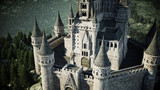 Old fairytale castle on the hill. aerial view. 3d rendering. - 168485503