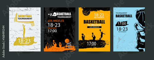 Set of basketball designs. Hand drawing, grunge style. A collection of sports covers, wall textures, flying ball, a sketch of players. EPS file is layered.