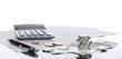 Leinwanddruck Bild Finanzen, Euro, Europa,  Münzstapel, Geldscheine, Kugelschreiber, Tabellen,  und Taschenrechner, Panorama, Hintergrund