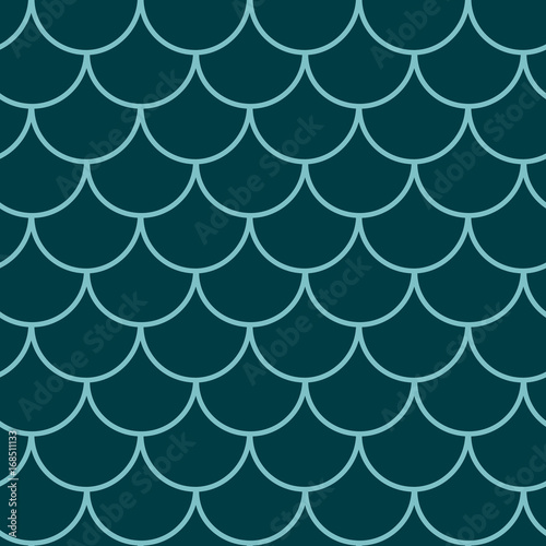 Fototapeta Mermaid tail seamless pattern. Fish skin texture. Tillable background for girl fabric, textile design, wrapping paper, swimwear or wallpaper. Blue mermaid tail background with fish scale underwater.