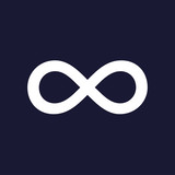 Vector image of the sign of infinity. White vector icon on dark blue background. - 168511535