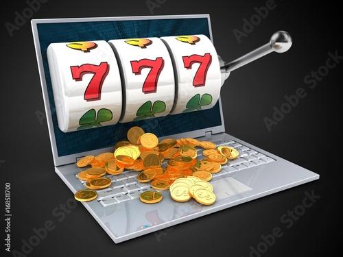 3d laptop and jackpot