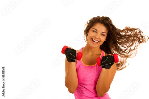 Sticker active young fit woman workout with dubbells isolated over white background