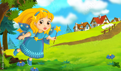 Cartoon background of fairy flying in the forest near the village - illustration for children - 168513174