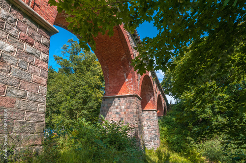 Bricks railway bridge in Bytow (Poland
