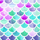 Mermaid scales. Watercolor fish scales. Bright summer pattern with reptilian scales. - 168516737