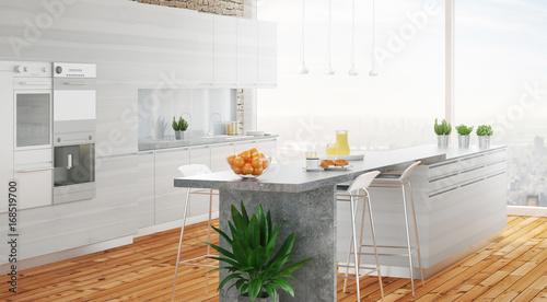 Cucina bianca in legno moderno con parquet e isola