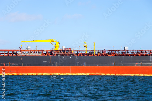 Description manifold on the deck of chemical tanker ship. Poster