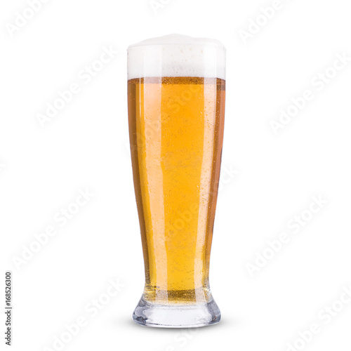 Light beer in a glass on a white background Poster