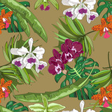 Seamless vector pattern of exotic hand drawn flowers and leaves. Tropical background.