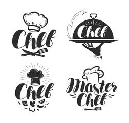 Chef, cook logo or label. Illustration for design menu restaurant or cafe. Lettering vector