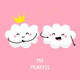 Cute cloud sings for cloud Princess. Flat style. Vector illustration.