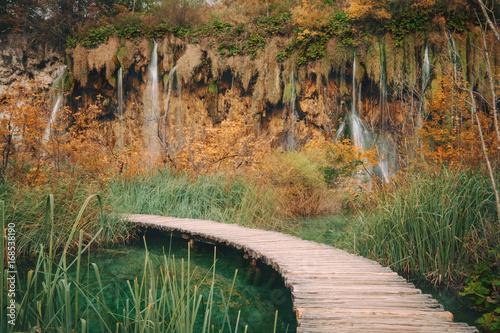 Fototapeta Wooden bridge through the river in autumn season