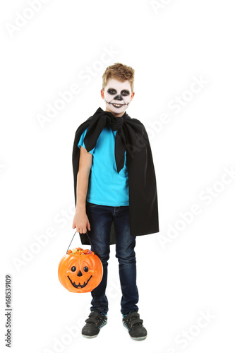 Little boy in halloween costume with basket for candies on white background Poster