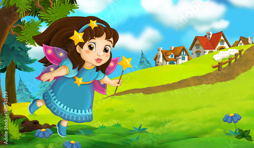Cartoon background of fairy flying in the forest near the village - illustration for children - 168543599