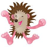 Cartoon funny hedgehog rejoices and exults