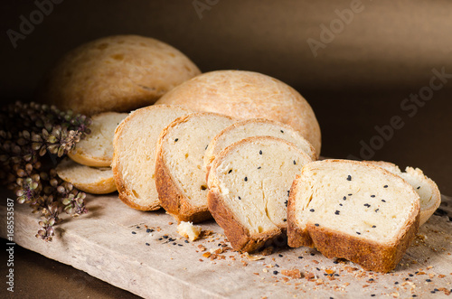 Sliced sesame bread on rustic wooden,Homemade bakery cooking at home,Healthy food