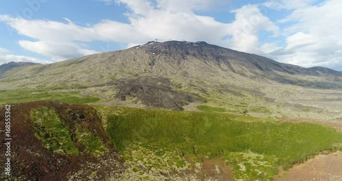 Poster West Iceland famous snaefellsjokull volcano mountain on Snaefellsnes peninsula. Aerial drone footage of Iceland landscape.
