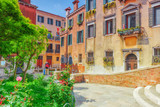 View of the most beautiful places of Venice, narrow streets, houses, city squares. Italy. - 168564912