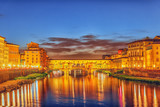 Beautiful landscape, panorama on historical view of the Florence - Ponte Vecchio is a bridge in Florence at night time. Italy. - 168565198