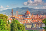 Beautiful landscape above, panorama on historical view of the Florence from Boboli Gardens (Giardino di Boboli ) point. Italy. - 168565397