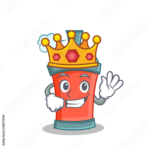 King aerosol spray can character cartoon