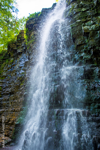 Photo of high waterfall in Carpathian mountains - 168579359